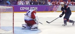 T.J. Oshie of the United States beats Russian goalie Sergei Bobrovsky.