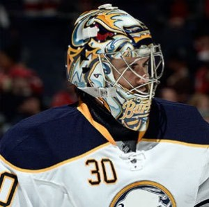 New Blues goalie Ryan Miller.