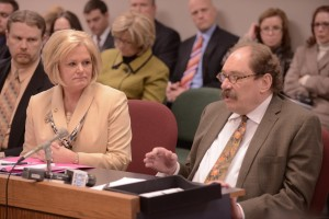 Representative Sheila Solon (left) watches as Doctor Carl Freter testifies in favor of her legislation regarding oral chemotherapy (HB1327).  (photo courtesy; Tim Bommel, Missouri House Communications)