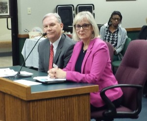 Kirkwood Superintendent Tom Williams (left) testifies in favor of legislation sponsored by representative Stacey Newman (right).