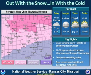 "This weather graphic stresses the NWS' concern that wind chills tonight could reach ""life threatening"" lows."