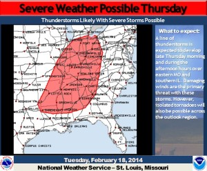This graphic from the National Weather Service in St. Louis illustrates part of the severe weather threat.  Storms are also anticipated to produce up to around 2 inches of rain and hail in western Missouri before reaching eastern Missouri and the Bootheel.