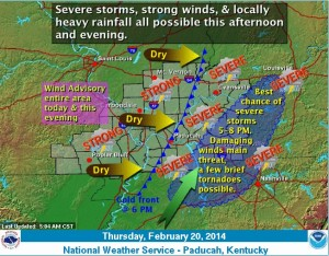 This graphic from the National Weather Service office in Paducah, KY shows the expectation for severe weather in Southeast Missouri.