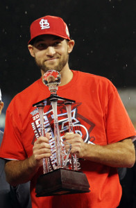 St. Louis Cardinals starting pitcher Michael Wacha holds the most valuable player trophy after Game 6 of the National League Championship Series against the Los Angeles Dodgers at Busch Stadium in St. Louis on October 18, 2013. St. Louis won the game 9-0 and will now advance to the 2013 World Series. UPI/Bill Greenblatt