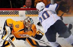 Alex Steen of the Blues is stopped by Nashville's Pekka Rinne on a penalty shot (photo/NHL.com)