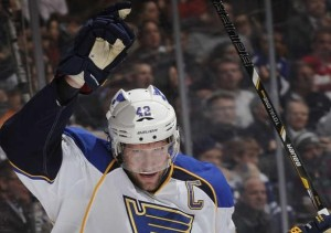 Blues captain David Backes  celebrates one of his three goals in the win over Toronto. (photo/NHL.com)