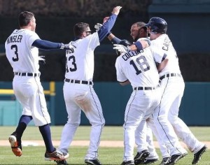 The Tigers celebrate their opening day victory. (photo/MLB.com)