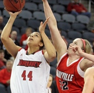 Sanayika Shields puts up a shot against Maryville in the GLVC tournament (photo courtesy/Drury Athletics)