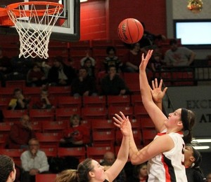 Amber Dvorak puts up a shot in a recent game vs. University of Missouri-St. Louis (photo/Drury Athletics)