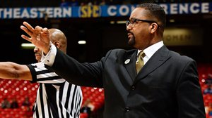 Frank Haith gives instructions to his players during their game against Texas A & M (photo/SEC)