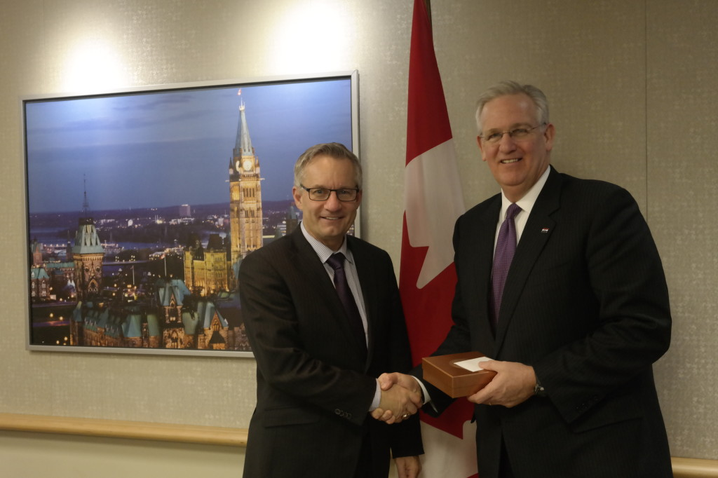 Gov. Nixon meets with Canadian Minister of Trade Ed Fast. (Photo courtesy of Gov. Jay Nixon's Office)