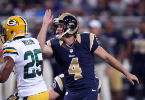 St. Louis Rams kicker Greg Zuerlein will need to make 38 yard extra points in the preseason.   UPI/Bill Greenblatt