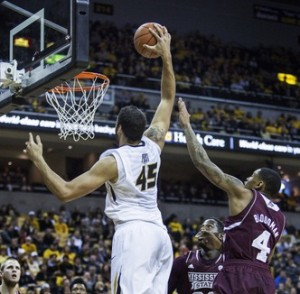 Keanau Post gets ready to dunk two of his 14 points in the win over Mississippi State (Photo/Mizzou Athletics)