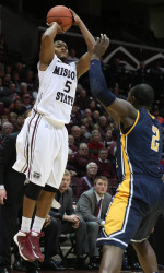 Jarmar Gulley attempts a shot against Murray State.  Gulley led the Bears in scoring in his final game. (photo/Missouri State Athletics)