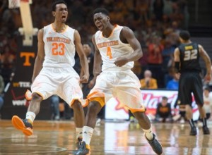Derek Reese and Armani Moore rev up the home crowd in Knoxville, TN (photo, courtesy Matthew DeMaria of UT Athletics)