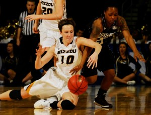 Mizzou's Maddie Stock fights for a loose ball during the SEC Tournament (photo/courtesy SEC Conference)