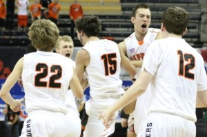 The Republic Tigers celebrate their second straight state title (photo/David Brazeal, RepublicTigerSports.com)