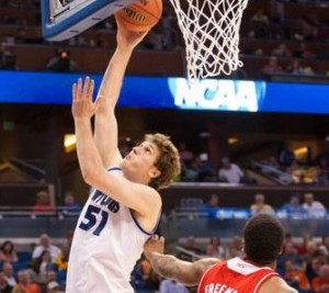 Saint Louis Billikens senior Rob Loe puts a shot up against NC State. (Photo/SLU Athletics)