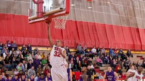6'7 Tylor Wimbish of the University of Missouri/St. Louis is trying to lead the Tritons to a GLVC championship. (photo, UMSL athletics)