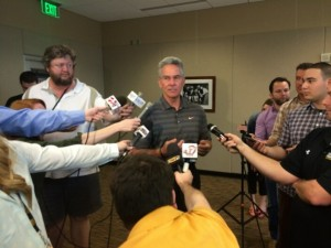 Mike Alden answers questions regarding the dismissal of Dorial Green-Beckham.