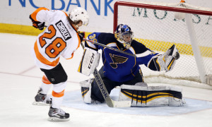 St. Louis Blues goaltender Ryan Miller snags a shot by Philadelphia Flyers Claude Giroux during a shootout at the Scottrade Center in St. Louis on April 1, 2014.  St. Louis won the game 1-0.  UPI/Bill Greenblatt