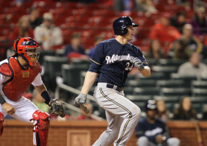 Milwaukee Brewers Lyle Overbay swings, hitting a RBI single, scoring Khris Davis from second base in the 11th inning against the St. Louis Cardinals at Busch Stadium in St. Louis on April 29, 2014.   Milwaukee won the game in 11 innings, 5-4. UPI/Bill Greenblatt