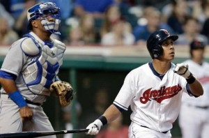 Salvador Perez and Cleveland's Michael Brantley watch his fourth inning homer (MLB photos)