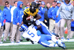 Missouri Tigers Dorial Green-Beckham is tackled by the Kentucky Wildcats defense the fourth quarter at Faurot Field in Columbia, Missouri on October 27, 2012. Missouri defeated Kentucky 33-10. UPI/Bill Greenblatt