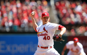 St. Louis Cardinals starting pitcher Shelby Miller delivers a pitch to the Cincinnati Reds in the second inning at Busch Stadium in St. Louis on April 8, 2014.   UPI/Bill Greenblatt