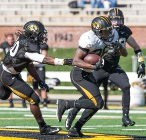 Morgan Steward busts off a 58 yard touchdown run in the Tigers first scrimmage (photo/Mizzou athletics)