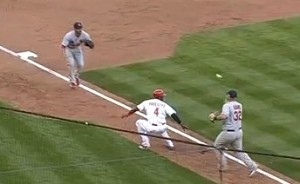 Brandon Phillips botched up  this play in the eighth inning, helping the Cardinals to a victory.