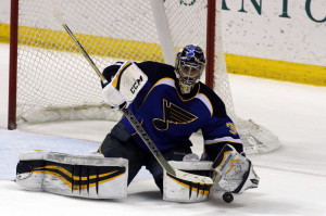St.Louis Blues goaltender Ryan Miller  will sit out tonight's game against his former teammates from Buffalo. UPI/Rob Cornforth