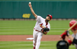 St. Louis Cardinals starting pitcher Michael Wacha delivers a pitch to the Cincinnati Reds in the fourth inning at Busch Stadium on Opening Day in St. Louis on April 7, 2014. UPI/Bill Greenblatt
