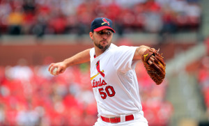 St. Louis Cardinals starting pitcher Adam Wainwright delivers a pitch to the Pittsburgh Pirates in the second inning at Busch Stadium in St. Louis on April 26, 2014.   UPI/Bill Greenblatt