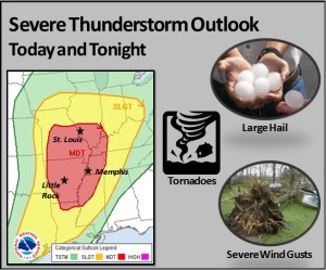 This graphic from the National Weather Service Office in St. Louis shows where the Storm Prediction Center in Oklahoma says there is a risk for severe weather today.