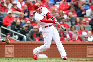 St. Louis Cardinals Allen Craig swings hitting a two RBI double in the fourth inning against the Milwaukee Brewers at Busch Stadium in St. Louis on April 30, 2014. Craig had four hits on the day as St. Louis defeated Milwaukee 9-3.     UPI/Bill Greenblatt