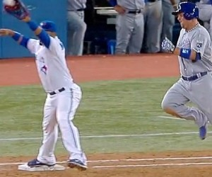 This doesn't end well for Billy Butler (video screen shot from MLB.com)