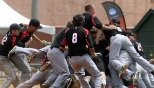 Drury celebrates their conference championship (photo/Drury athletics)