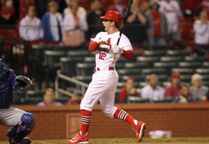 St. Louis Cardinals Greg Garcia is hit by a pitch with bases loaded in the 12th inning against the Chicago Cubs at Busch Stadium in St. Louis on May 13, 2014. St. Louis won the game 4-3. UPI/Bill Greenblatt