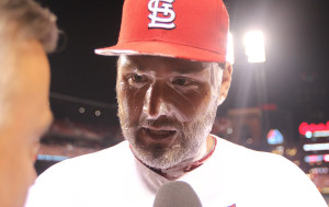 St. Louis Cardinals starting pitcher Lance Lynn does a television interview with shaving cream on his face after teammates congratulated him on a 5 hit shutout and a 6-0 win over the New York Yankees at Busch Stadium in St. Louis on May 27, 2014. UPI/Bill Greenblatt