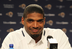 St. Louis Rams rookie Michael Sam listens in as he meets with reporters at Rams Park in Earth City, Missouri on May 13, 2014. Sam, the first openly gay player was drafted by the Rams in the 2014 draft. UPI/Bill Greenblatt