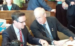 Senate Budget Committee Chairman Kurt Schaefer (left) and House Budget Committee Chairman Rick Stream preside over the budget conference committee.