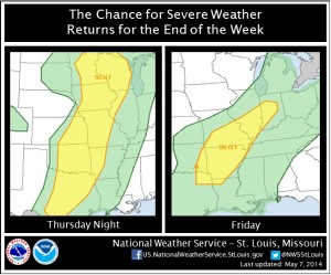 This graphic from the National Weather Service's St. Louis Office shows where the Storm Prediction Center says there is a slight chance of severe weather Thursday and Friday.