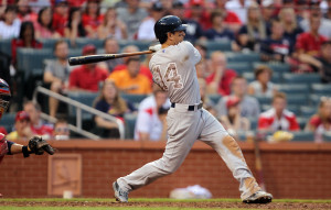 New York Yankees Brian Roberts swings, driving in the go ahead run in the 12th inning against the St. Louis Cardinals at Busch Stadium in St. Louis on May 26, 2014. New York won the game 6-4 in 12 innings. UPI/Bill Greenblatt