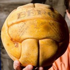 The 1936 gold medal basketballl looks more like a volleyball (photo from the Kansas City Star story)