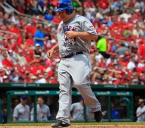 Bartolo Colon scores a run in the sixth inning against the Cardinals. (MLB photos)