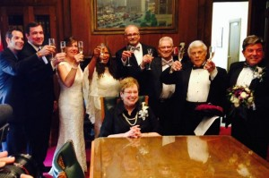 St. Louis Recorder Sharon Quinn Carpenter and the four couples married in the office of Mayor Francis Slay on Wednesday. (courtesy; St. Louis Recorder's Twitter feed)