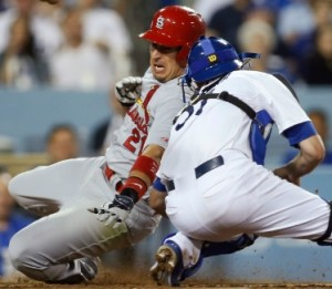 Allen Craig is tagged out at home plate in the seventh inning.  Mike Matheny challenged the call, but lost (photo/MLB)