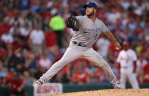 Kansas City Royals starting pitcher Danny Duffy delivers a pitch to the St. Louis Cardinals in the third inning at Busch Stadium in St. Louis on June 2, 2014.     UPI/Bill Greenblatt