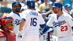 Andre Ethier is greeted at home plate after hitting a three-run homer.  It was the 12th homer allowed this season by Shelby Miller (photo/MLB)